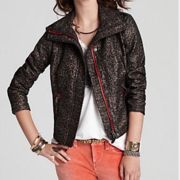 e0981c407d3e Free People Jackets & Blazers - We The Free Leopard Pop Moto Jacket in Gray  Size